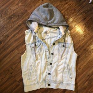 Volcom denim vest with detachable fleece hood sz M